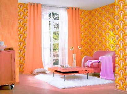 Stil & Einrichtung | Wohnideen | Möbel | Designermöbel | Wohnraum ... Retro Tapete Wohnzimmer