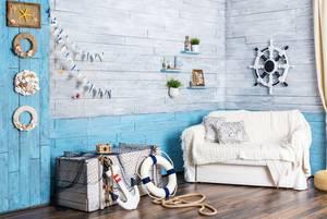 Maritime Wandgestaltung wohnzimmer
