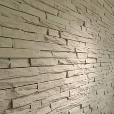 wandgestaltung stein treppe massivholzstufen. wohnzimmer ideen ... - Wand Gestalten Mit Steinen