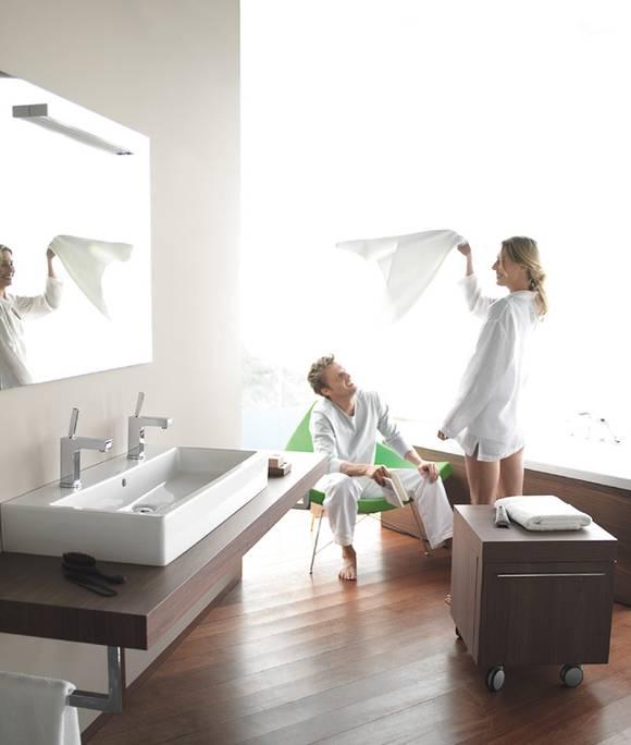 Im Familienbad ist viel Platz am Waschtisch wichtig. Viele entscheiden ...