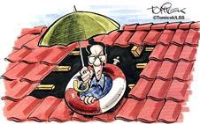 Dachdecker muss Dach vor Niederschlägen schützen
