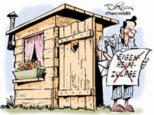 Hausbau karikaturen  Behelfsheim - ohne Fiskus