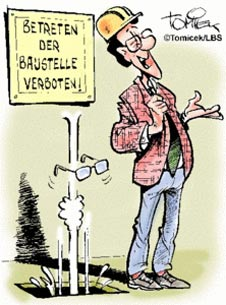 Hausbau karikaturen  Unfall am Freudentag