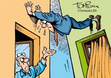 Hausbau karikaturen  Standfestigkeit verloren